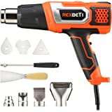 Heat Gun Kit Variable Temperature, RexBeTi Portable Hot Air Gun 1500W 140℉-932℉ with 3 Air Flow, 9 Accessories for Heat shrink tubing, Wrapping Drying Painting, Non-Slip Soft Handle, Black Orange