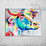 Hand Painted Animals Oil Painting on Canvas Hang Picture Abstract Color Cow Wall Art for Living Room Decor Modern Painting No Frame Paintings