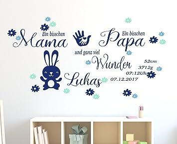 tjapalo® Wandtattoo Kinderzimmer Baby Geburt Wandtattoo junge Geburtsdaten  Datum Name Wunschname pk209 ein bisschen Mama ein bisschen Papa und ganz ...