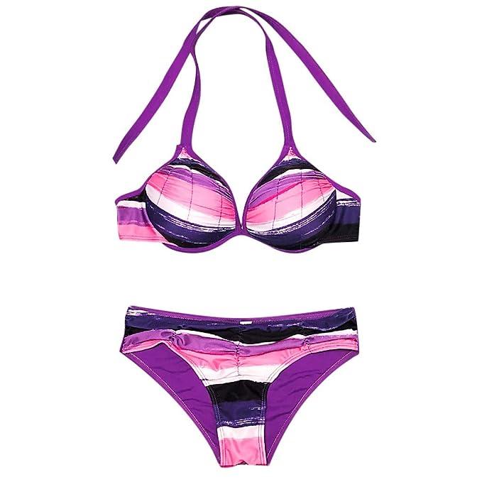 Longra❤ ❤ Conjunto de Dos Piezas de Bikini Sexy para Mujeres de 2019, Raya Colorida Impresa/Push-up Sujetador Acolchado Bikini: Amazon.es: Ropa y ...