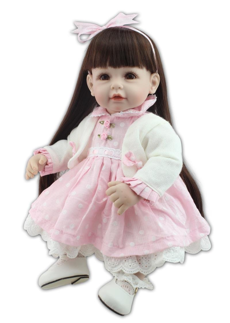 Lilith 21インチ52 cm Realistic Looking Reborn人形ブラックLong Hair人形Rebornベビーガール幼児ソフトSiliconeビニールLifelike新生児Baby Gentle Touch ピンク APS-1919-1  ピンク B07B63MPYG