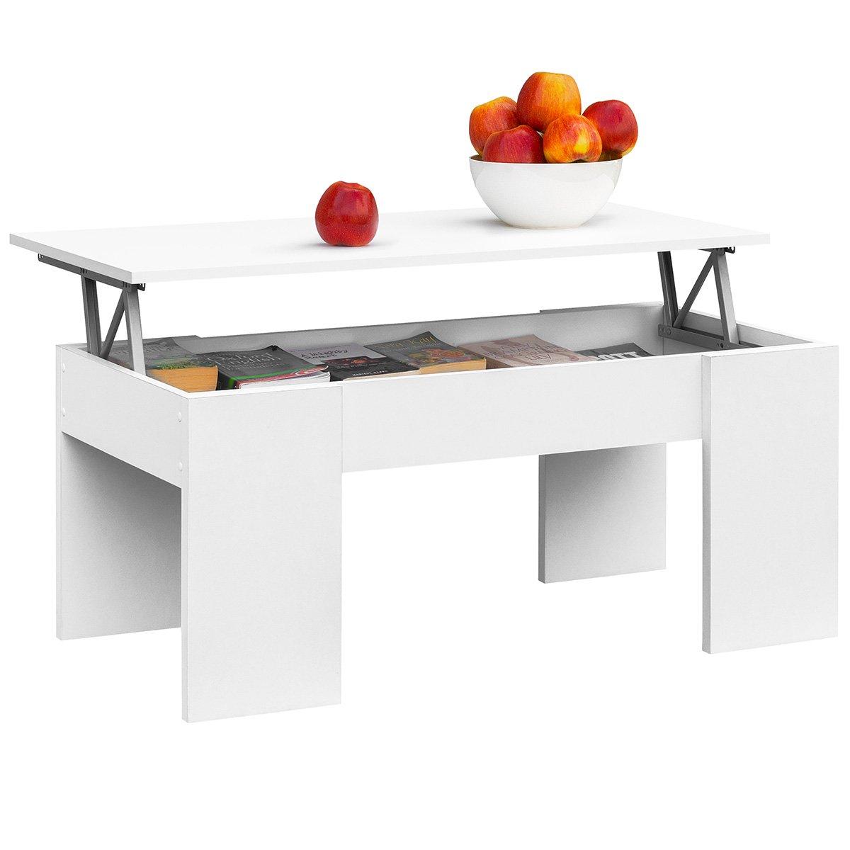 COMIFORT Mesa de Centro Elevable Moderna Mesita de Café Comedor o Salón, 100 x 50 x 45/52 (Blanco)