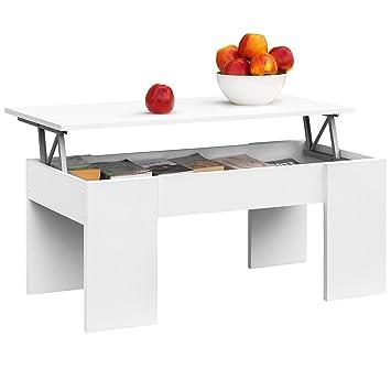 COMIFORT Mesa de Centro Elevable Moderna Mesita de Café Comedor o Salón, 100 x 50 x 45/52 (Blanco): Amazon.es: Hogar