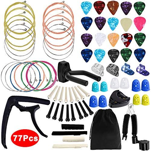 Outee Guitar Accessories Kit, 77 Pcs Guitar String Changing Kit Guitar Tools Strings Picks Capo Pins Tuner Finger Protectors Guitar Bones Cutter for Guitar Players
