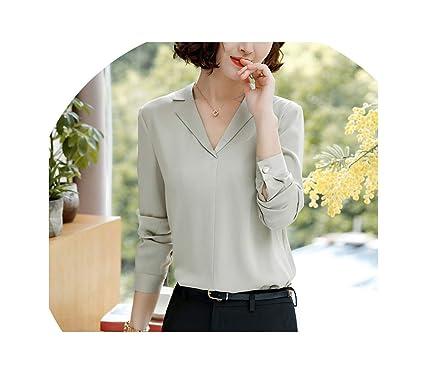 4bb2055d4a9246 Chiffon Shirt Women Fashion V Neck Long Sleeve Blouse New Formal  Professional Work wear Loose Plus
