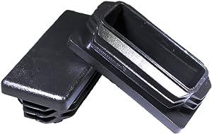 Prescott Plastics 3/4 x 1 1/2 Inch Rectangle Black Plastic Plug End Cap (10)