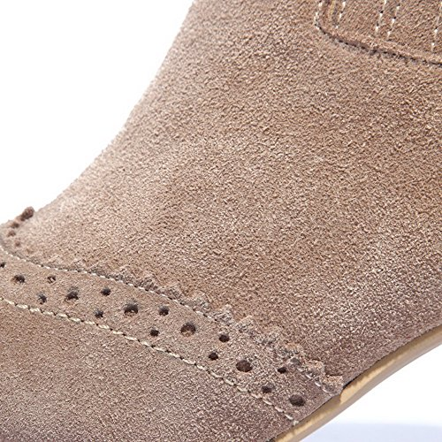 with Carved and Flower Heels toe Nude Boots AmoonyFashion Women's toe Chunky heels Round Closed Kitten wx8FPzq