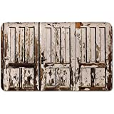 Memory Foam Bath Mat,Rustic,Vintage House Entrance with Vertical Lined Old Planks Distressed Hardwood DesignPlush Wanderlust Bathroom Decor Mat Rug Carpet with Anti-Slip Backing,Brown White