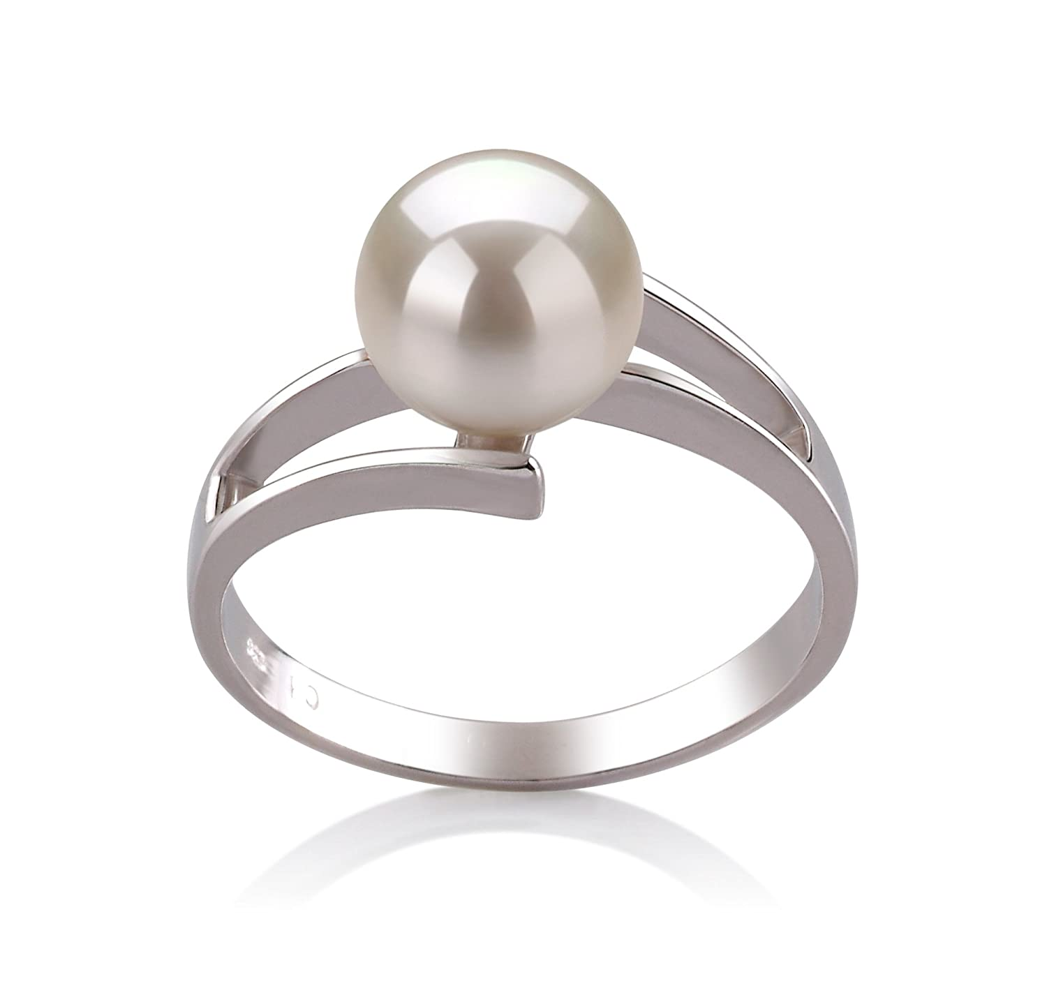 White 7-8mm AAA Quality Freshwater 925 Sterling Silver Cultured Pearl Ring
