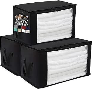 Gorilla Grip - Bolsas de almacenamiento plegables,  alta calidad, asas duraderas, tapas con zíper, para guardar ropa, cobijas, zapatos, para uso debajo de la cama, en armarios, organizador de áticos, 55.8 x 83.8 cm, Negro, Paquete de 3, 3
