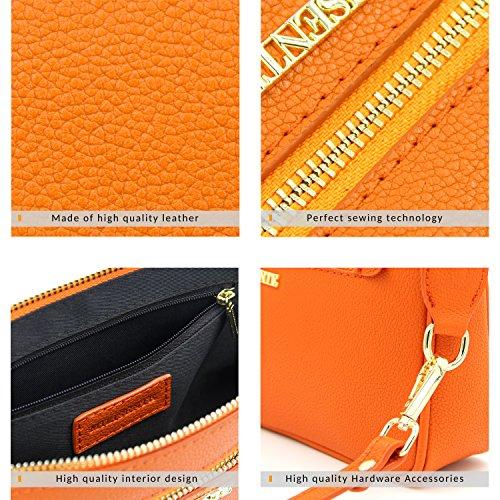 Leather Crossbody Zipper Purse Crossbody Clutch Milisente Orange Genuine Women Pocket Bags aInFUq