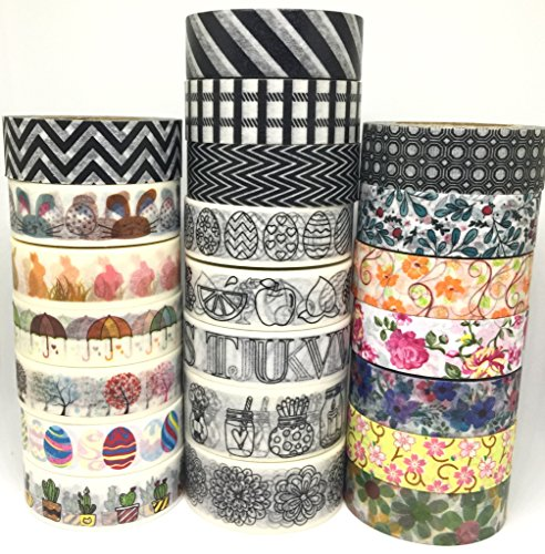 Washi Tape by L'artisant - Premium Quality Set of 22 Rolls - Great for decorating planners, Albums, organizers, calendars, - Fun DIY projects, kids' craft activities.(Bundle13) (Asian Girls Calendar)
