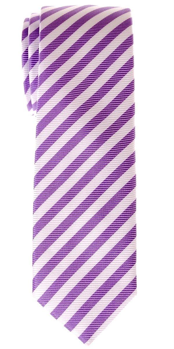 Prämie Schmale Gewebte Krawatte Gestreifte 5 cm - in verschiedenen Farben RTZ-TIE-0013-BLEWHTSTRP