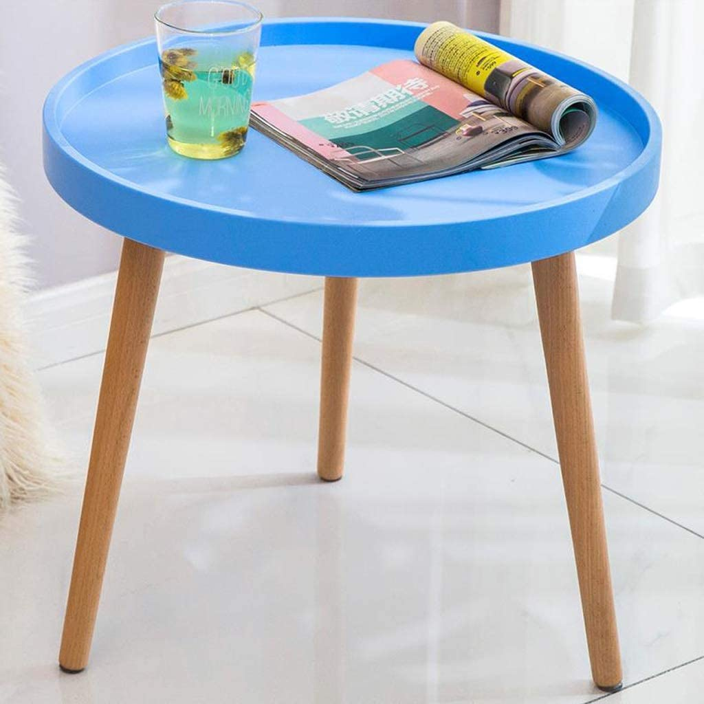 Nieuw MBZL Bijzettafel, koffietafel, kleine houten bijzettafeltjes, moderne bureau-sofa, eind tafels, eiken, ronde salontafels voor woonkamer blauw Exh45K7