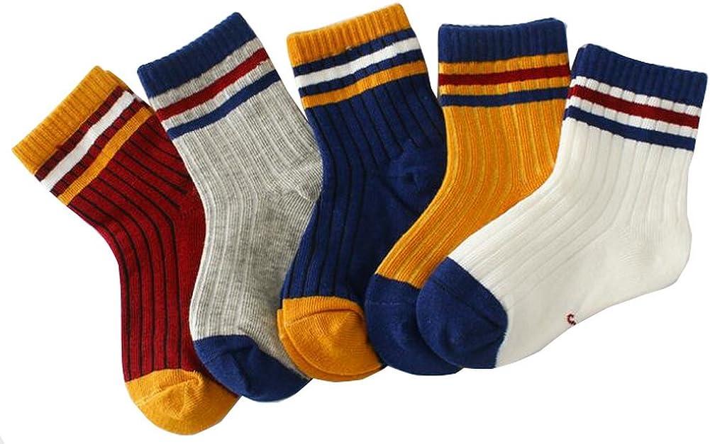 Vocni Winter Baby Girls Boys Unisex 5 Pack Anti Slip Newborn Toddlers Middle Kids Socks
