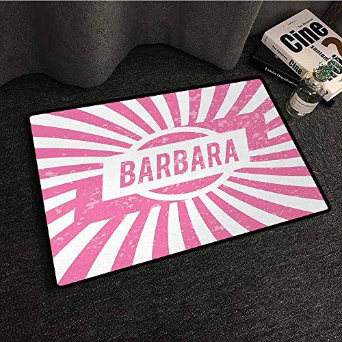 - DILITECK Printed Door mat Barbara Radial Background with Name in Rectangle in The Middle Grunge Illustration Super Absorbent mud W30 xL39 Pale Pink and White