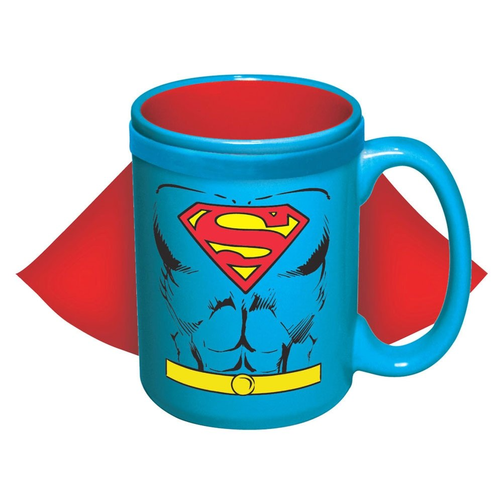 ICUP DC Superman Character Caped Ceramic Mug, 15 oz, Clear