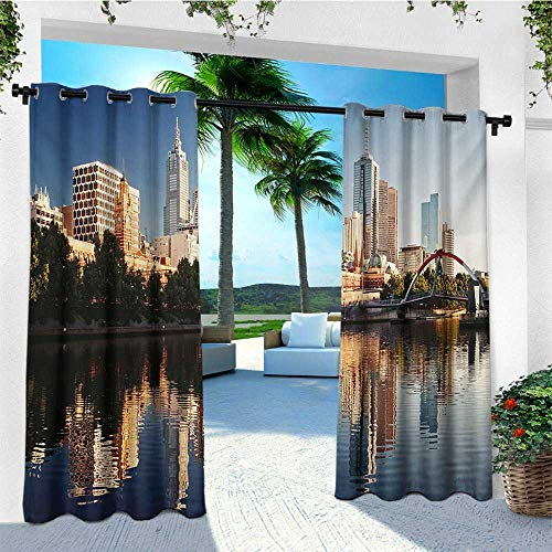 leinuoyi City, Outdoor Curtain Panels Set of 2, Idyllic View of Yarra River Melbourne Australia Architecture Tourism, for Patio Furniture W96 x L96 Inch Dark Blue Ivory Dark Green (Outdoor Furniture Cafe Melbourne)