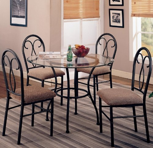 coaster-odelia-120565-5pc-dining-set-including-table-with-metal-base-and-microfiber-upholstered-chai