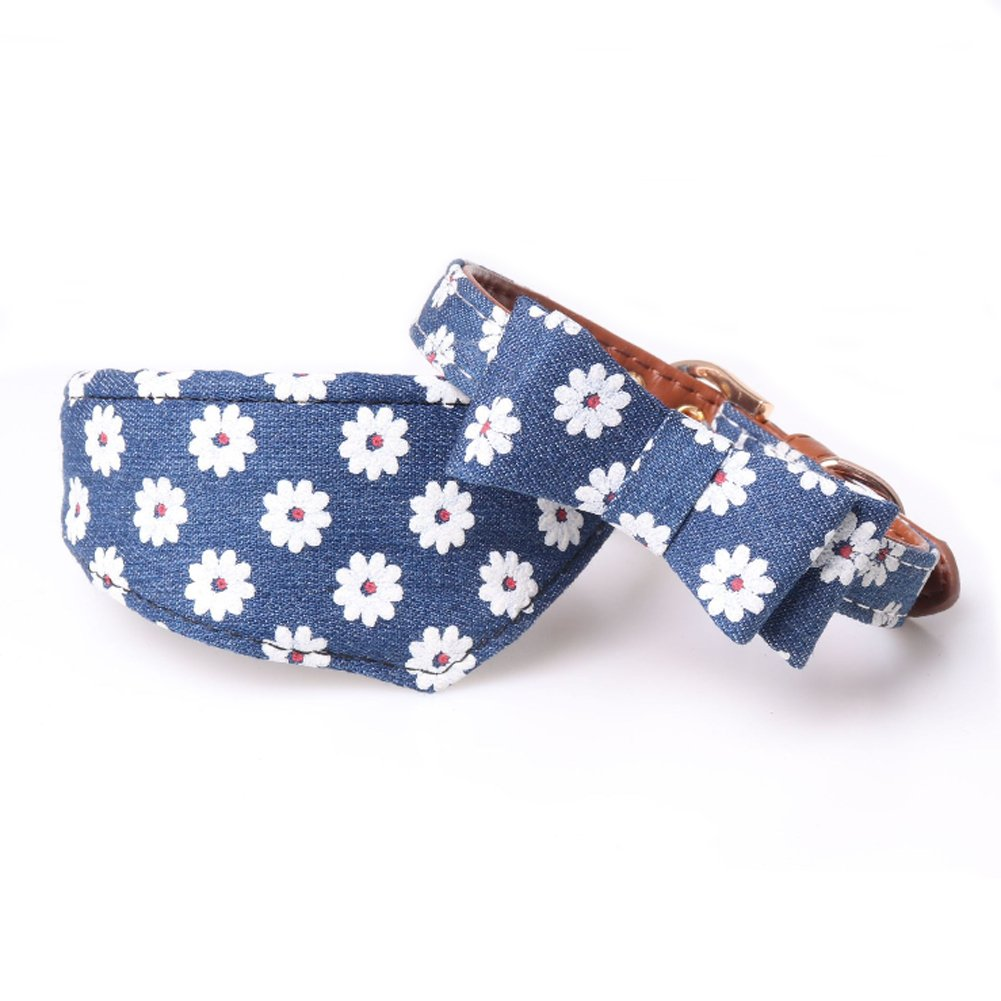 PetFavorites Small Dog Costume Collar - Leather Bowtie Kitten Bandana Collar for Halloween - Teacup Yorkie Chihuahua Clothes Outfits Accessories (Neck Size: 8.7'' - 11'', Denim Floral Bow + Bandana)