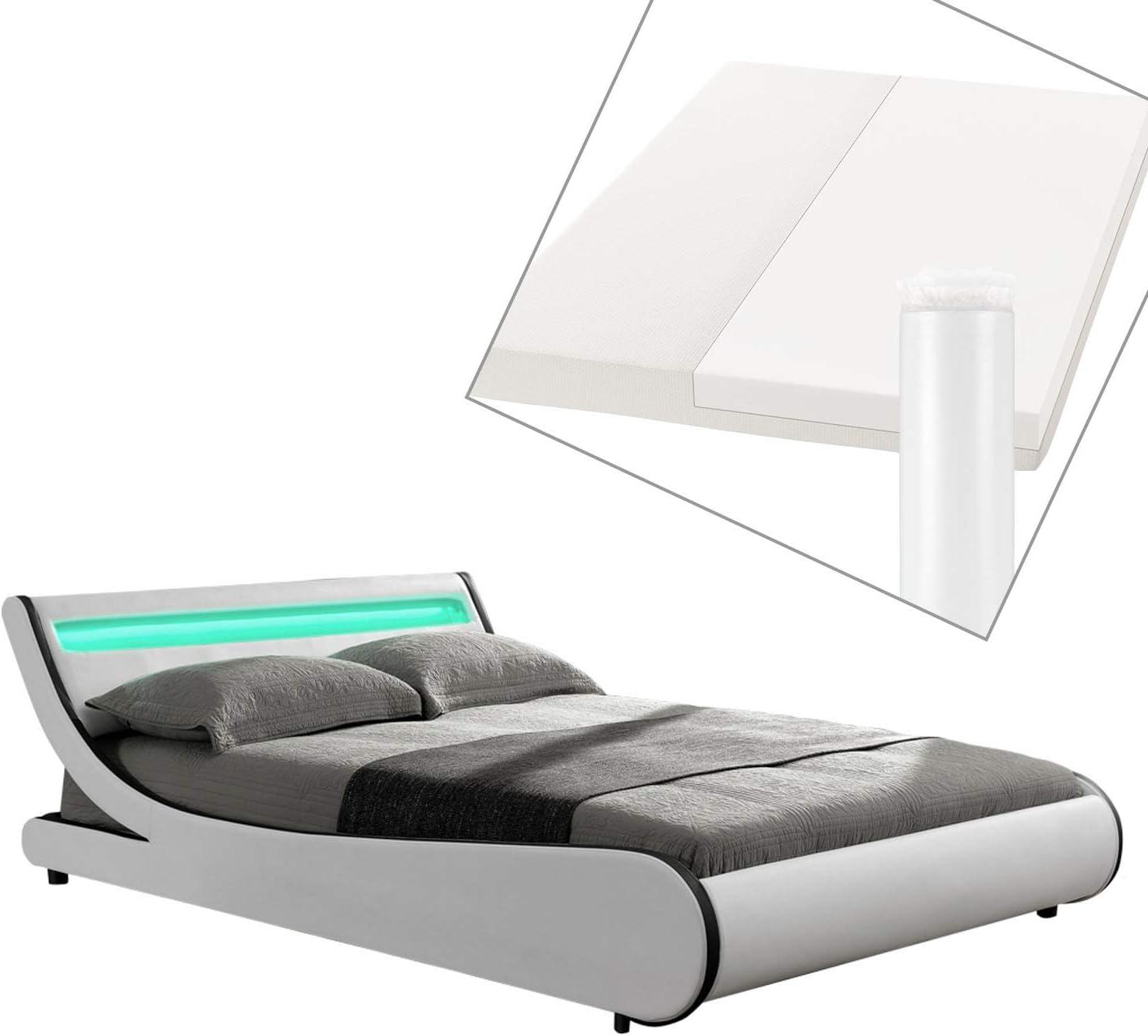 ArtLife Valencia - Cama tapizada (140 x 200 cm, con colchón de Espuma fría), Color Blanco