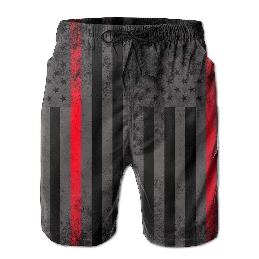Personality Beach Pants Shorts Men Fire Fighter Thin Red Line Flag Summer Breathable Quick-Drying Swim Trunks Beach Shorts Cargo Shorts