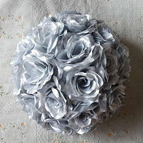 10 PCS HOT SELL Colorful High ,Quality 15-40CM Rose Pomander Flower Kissing Ball Color:Silver Size:Diameter:20cm 7.8