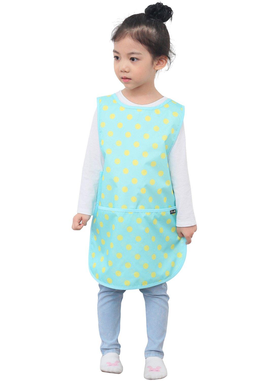 02-L Mint Dot Plie Children Waterproof Sleeveless Art Smock Apron with Pockets