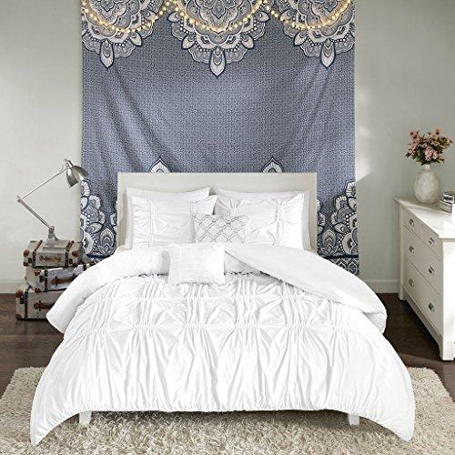 (Intelligent Design Benny 5 Piece Metallic Elastic Embroidery Duvet Cover Teen Bedroom Bedding Sets, Full/Queen, White)