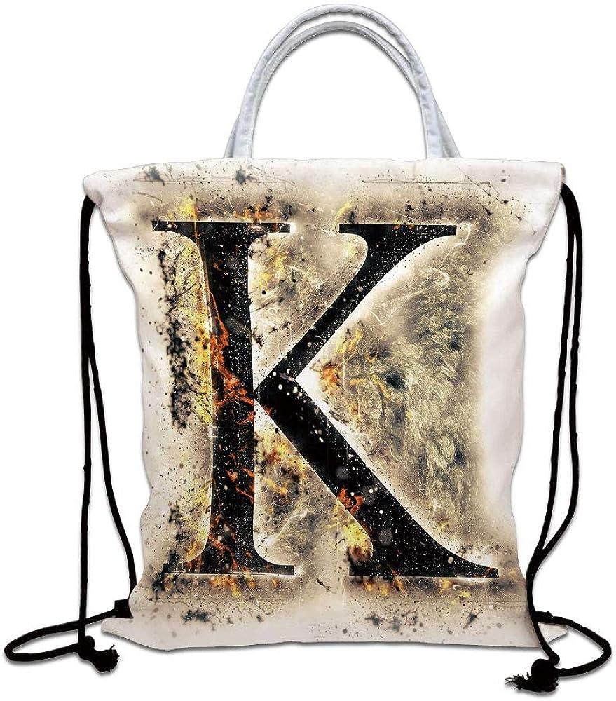 Letter K Drawstring Bag waterproof, Smoked Letter K Alphabet in Blaze with Grunge Design Ignited Writing Symbol Decorative Lightweight Gym Sackpack for Hiking Yoga Gym Swimming Travel Beach,Tan Black