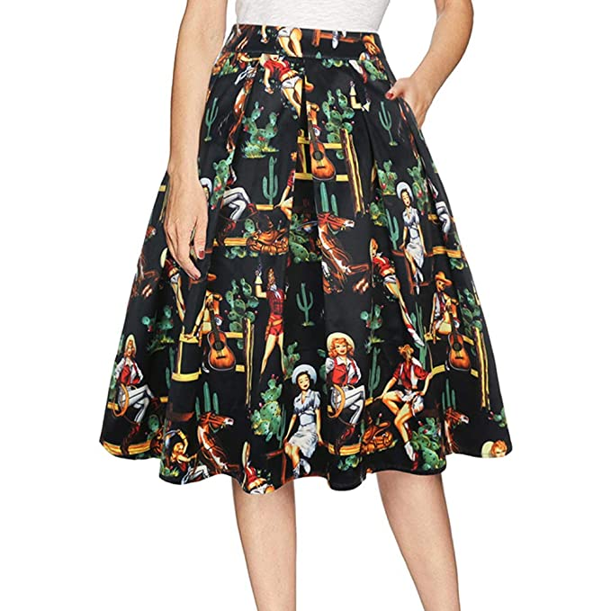 f11c533b15 LUQIRY Women's Halloween Vintage Pleated Elastic Waist Printed Skirt A line  Party Flared Skirts with Pocket
