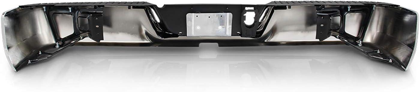 Chrome Rear Bumper Black Step Pad Fits 2009-2018 Dodge Ram 1500 10-12 2500 3500 without Dual Exhaust w//o Sensor Holes