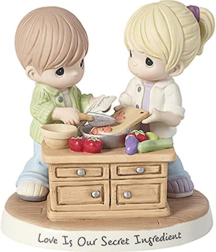 Precious Moments Secret Ingredient Bisque Porcelain Loving Couple Cooking Together Figurine, Multi