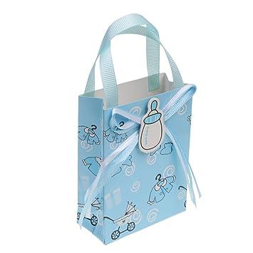 Gazechimp 12pcs Bolsas de Regalo de Bautizo de Bebé Decoración de Fiesta de Cumpleaños Azul/