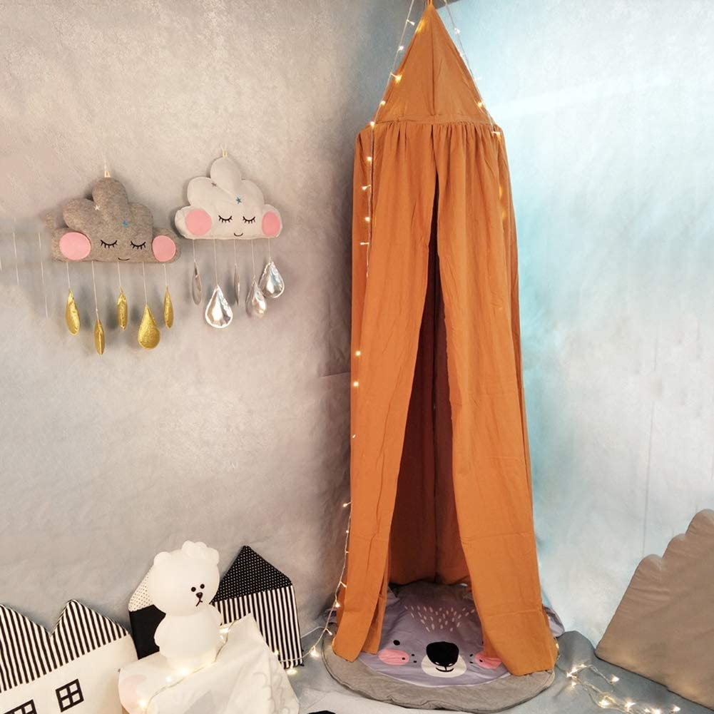 Baldaquin Ciels De Lit Rideaux De Lit Moustiquaire Tente De Jeu Lecture Pour B/éb/é Enfant Accessoires De Literie D/écoration Chambre Bed Canopy 50 270Cm,Orange 240