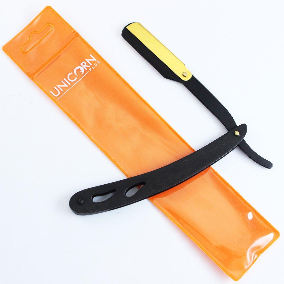 Brand New - Professional Cut Throat Stainless Steel Shaver Deep Black & Orange Straight Edge St Barber Razor Folding Shaving Hair Removal Tools + PVC Unicorn Plus RZ-84C-B