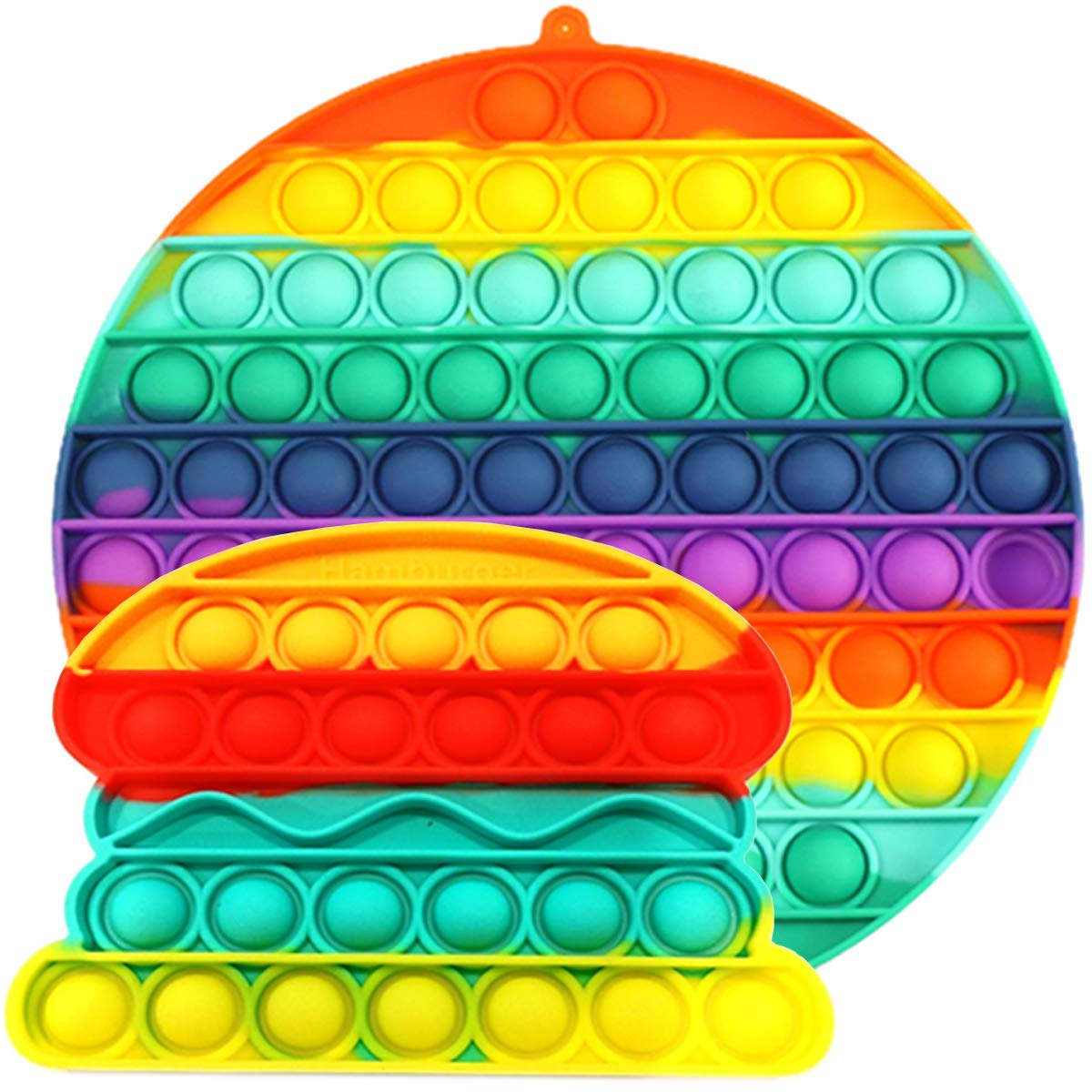 didaINT Real Big Size Fidget Bubbles Rainbow Circle Pack with Hamburger 200mm 70pops Special for mutiplayer