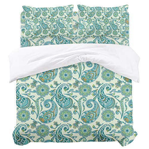 Duvet Cover Sets - Vintage Paisley Floral Teal 4 Piece Twin Bedding Sets Soft Microfiber Bedspread Comforter Cover and Pillow Shams for Adult/Children/Teens