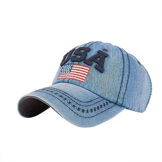 Men Women USA American FLAG CASUAL Rhinestone DENIM CAP Baseball Hat 100/% Cotton