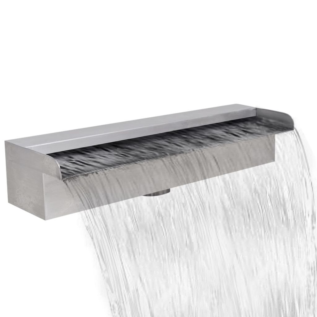 Vislone Tidyard Outdoor Waterfall Pool Fountain, Rectangular Pond Fountain Stainless Steel 17.7'' by Vislone