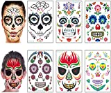 Face Mask Joker - Halloween Day of The Dead Face Tattoos Kit - Sugar Skull Glitter Roses Temporary Tattoos for Women Men Kids Halloween Party Favors Supplies (6 Sheets)