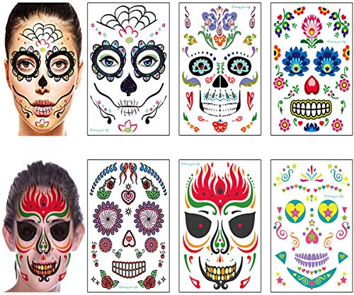 (Halloween Day of The Dead Face Tattoos Kit - Sugar Skull Glitter Roses Temporary Tattoos for Women Men Kids Halloween Party Favors Supplies (6)