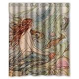 abigai Vintage Vintage Mermaid Art2 Custom Printed Waterproof fabric Polyester Bath Curtain Bathroom Decor Shower Curtain 66'(w) x 72'(h)