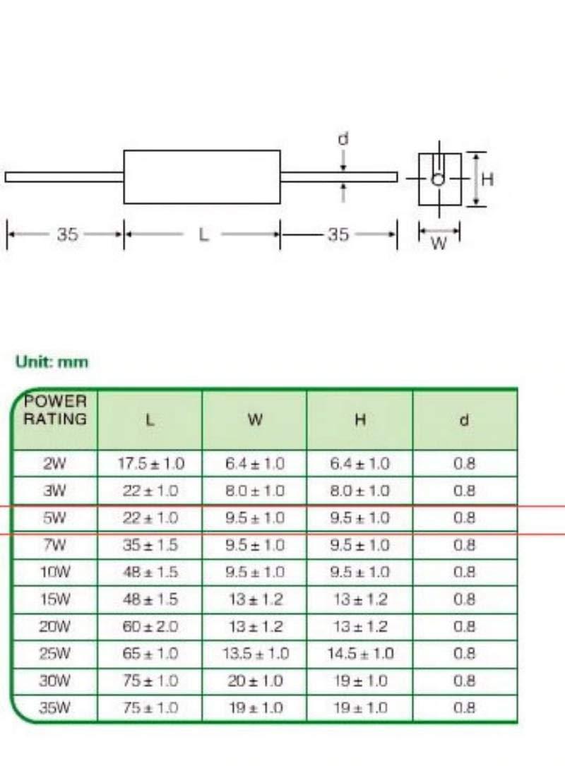 /± 5/% vs-elec x5 Pcs 20 Ohm R/ésistance c/ément/ée 5w