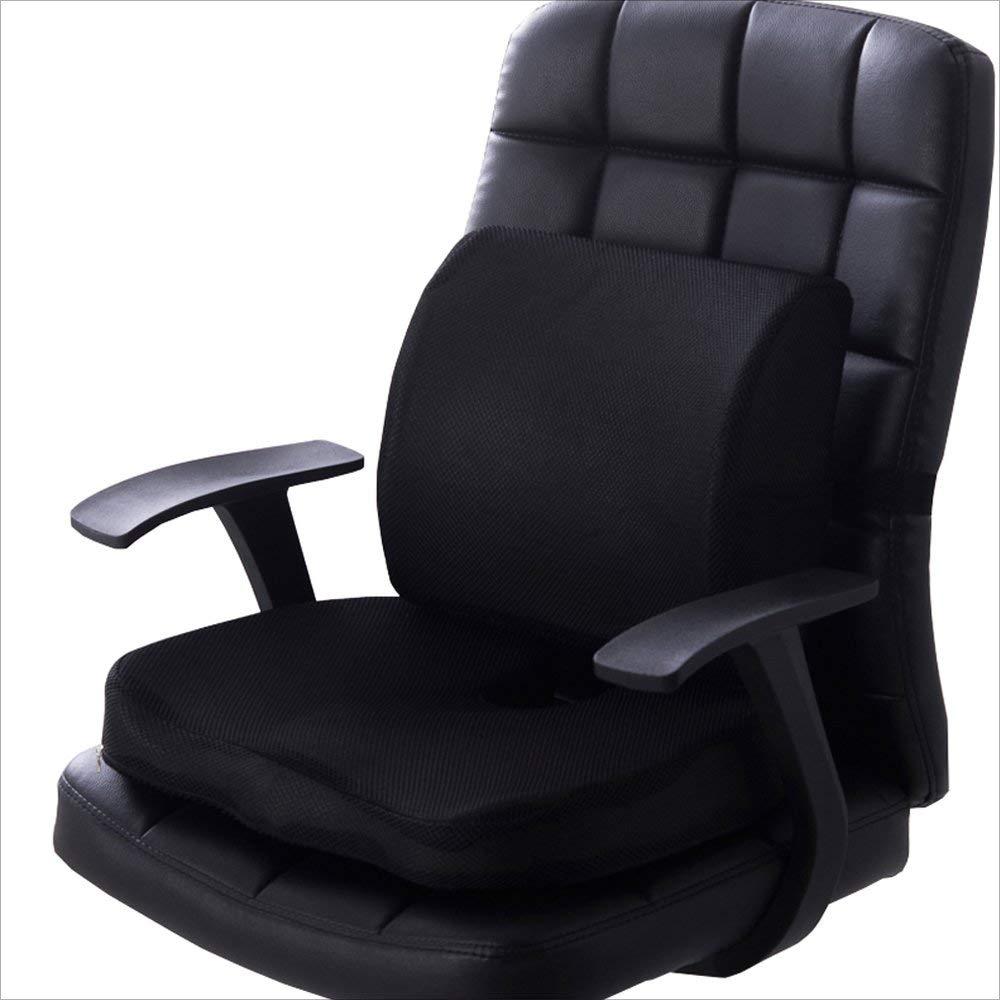 Zmsdt バックレストヒップパッド 車腰椎パッド オフィス 腰椎サポートチェア 美しいヒップクッション Suede ブラック ZMSDT-HL-627 Suede ブラック B07MNB5BDY