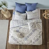 Urban Habitat Rochelle Full/Queen Size Teen Boys Quilt Bedding Set - Blue, Geometric – 7 Piece Boys Bedding Quilt Coverlets – 100% Cotton Bed Quilts Quilted Coverlet