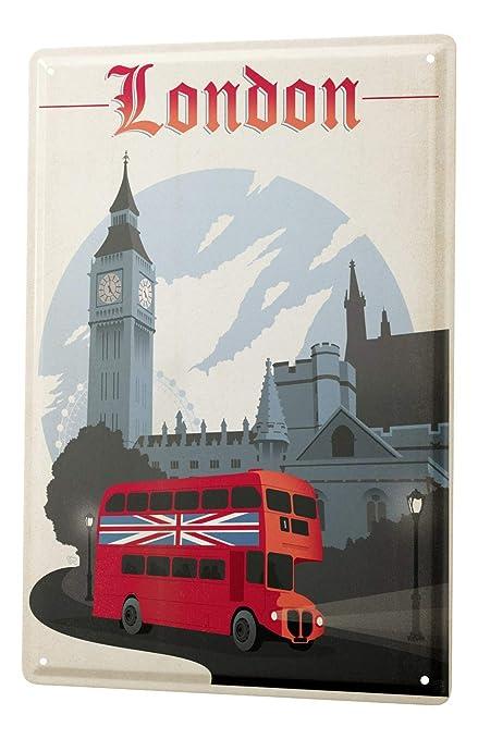Blechschild Stadt Deko London Doppeldeckerbus Big Ben Metallschild
