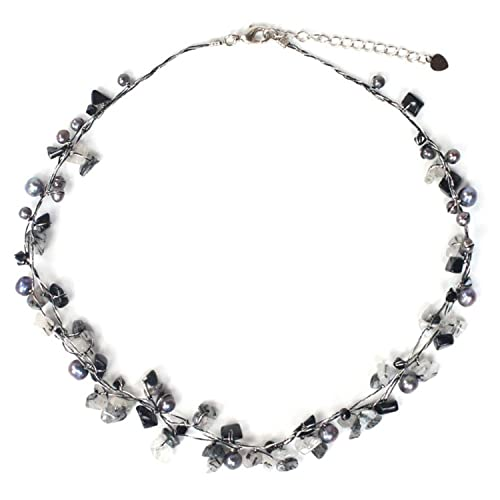 NOVICA Dyed Gray Cultured Freshwater Pearl and Tourmalinated Quartz Necklace, 16.5 River of Night