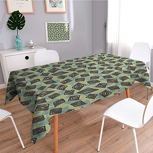 - SCOCICI1588 Square Tablecloth Green Home for Design al Shapes Sage Green Olive Green and Light Green Perfect for Spring, Summer, Indoor, Outdoor Picnics or Everyday Use-W54 x L72