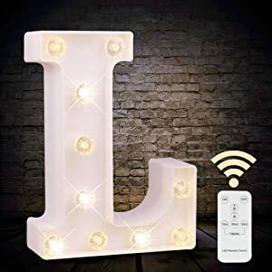 Obrecis LED White Light Up Marquee Letter Sign with Remote Control Timer Dimmable for Party Wedding Decor, Alphabet Wall Decoration Letter Lights, Letter L